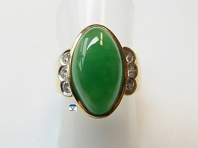 1x Ring - Gold 22K mit Jadeit A Oval cabochon 6 Diamanten a 0,05ct. mm (5000QQ)