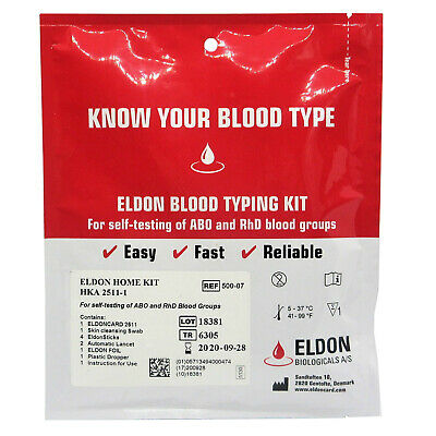 1 x Eat Right 4/For Your Type Home Blood Group Testing Test Kits - Eldon Card