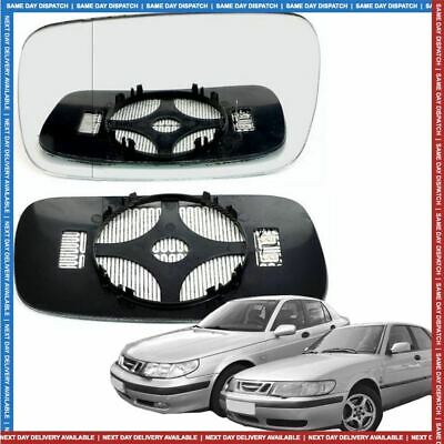 Left Passenger side Wide Angle Wing mirror glass for Saab 9-3 1998-2002 Heated