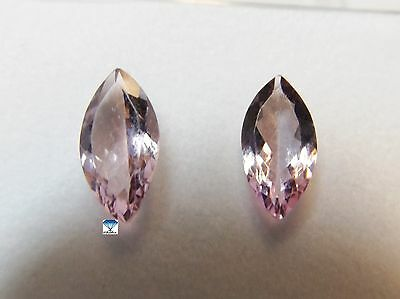 2x Morganite - Pink Navette PAAR , PAIR facettiert 3,68ct. 7x14mm (7000)
