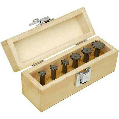 "6 Pc Carbide Tipped T-Slot Cutter Set w/ 1/4"" shanks in Sturdy Wooden Case New"