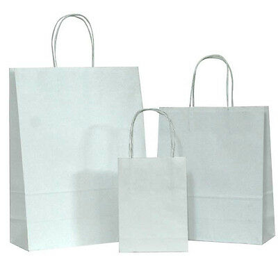 100 White Small Kraft Paper Bags, Shopping handles Party Gift Bags-5.25x3.75x8""
