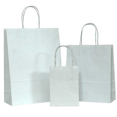 White SMALL Kraft Paper Bags, Shopping handle Wedding Party Gift Bag-5.25x3.75x8