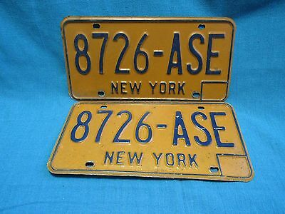 Vintage Original New York License Plate 8726-ASE, 1973-1985 Blue on Yellow
