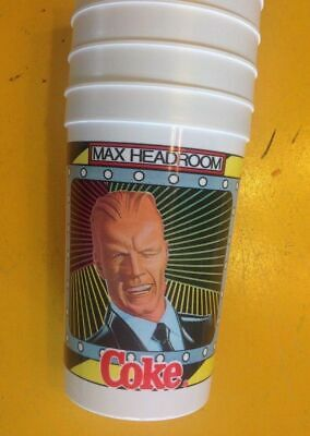 VINTAGE Max Headroom COCA COLA Plastic Cup Tumbler MINT 1980s Party