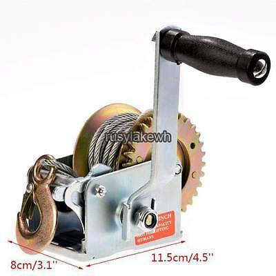 Hand-Crank Steel 600 lb Load Marine Boat Trailer Winch with 26 ft.Cable & Hook