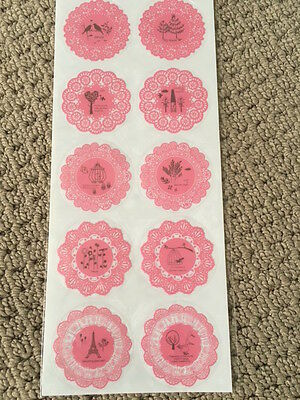 Pink doily Stickers - scrapbooking and paper craft 2 sheets.