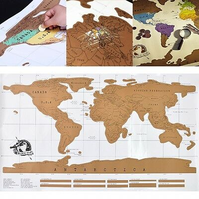 New Personalized Map Poster Travel Vacation Scratch Off Log World Map Gift