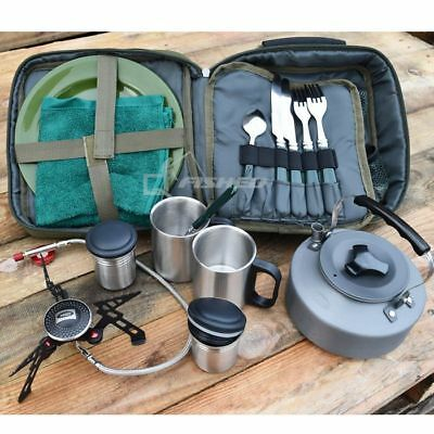 Deluxe NGT Cutlery Fishing Set & Bag, Kettle, Gas Stove, Carp Tackle Camping