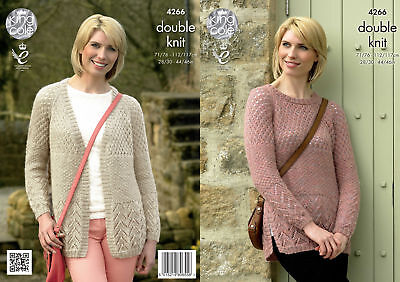King Cole Ladies Double Knit Pattern Sweater Cardigan Panache DK 4266