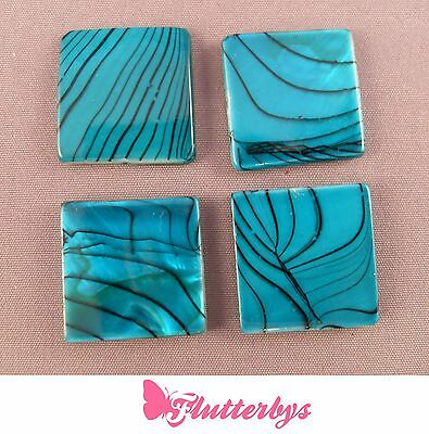 4 Real Shell Dyed Teal Square Flat Beads, 25mm, jewellery embellishments crafts