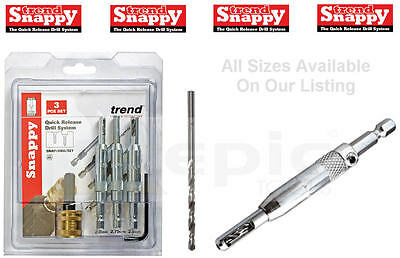 "TREND SNAPPY Hinge Centring/Centre Guide Drill Bit Sizes 9/64"" 7/64"" 5/64"", Set"