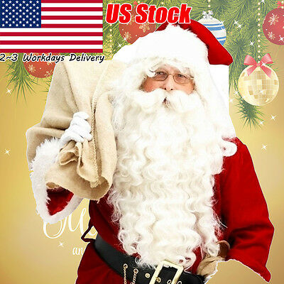 Santa Claus Wig + Beard Set Costume Accessory Adult Christmas Day Fancy Dress