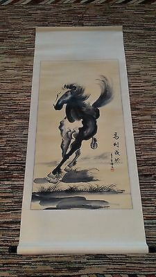 """Asian Chinese Scroll Painting Black & White Horse Wall Art Home Decor 55"""" x 22"""""""