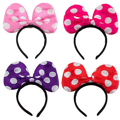 Minnie Mickey Mouse Ears Light Up Bow Headbands Flashing Led Party