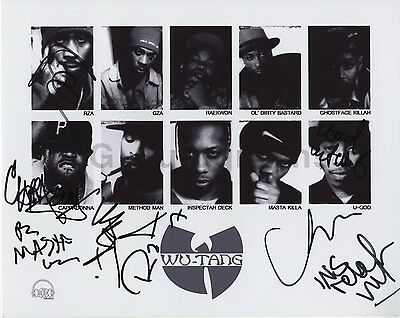 Wu-Tang Clan - Legendary Rap Group - Autographed 8x10 Photograph - Signed by 8