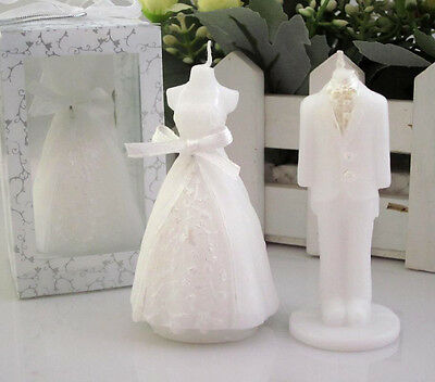 2Pcs Romantic Bridegroom Bride Shape Scented Candles Wedding Party Boxed Gifts