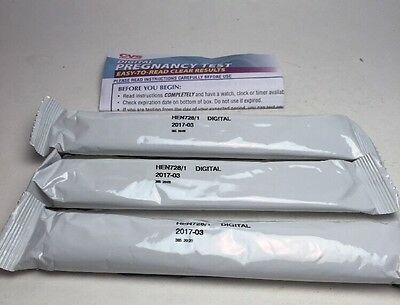3x CVS DIGITAL Pregnancy Tests Early Result Test Easy to Read Exp. 3/17 No Box