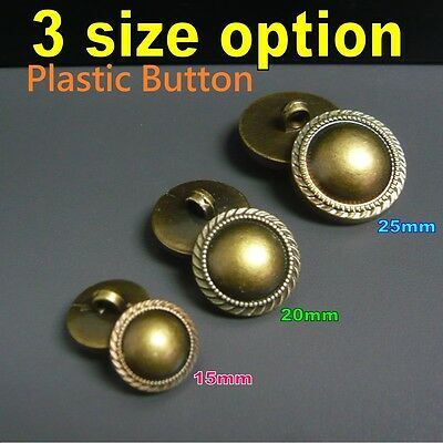 Round Vintage Antique Brass colour Military Shield shank on back Plastic Buttons