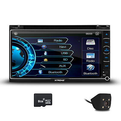 "Car Stereo Double 2 DIN Bluetooth Navigation GPS CD DVD Receiver 7"" Radio Camera"