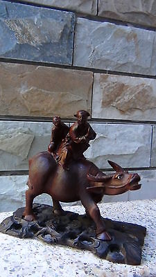 Antique Chinese Rosewood Carved 2 Kids Riding A Oxen Statue On Fitted Pedestal