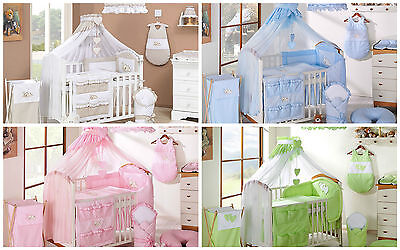 Exclusive Embroidered Cot Cotbed Bedding Set 14 Pcs Piece  Quilt Bumper Canopy