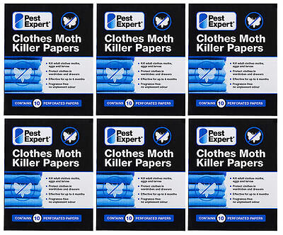 Clothes Moth Killer Paper Strips from Pest Expert (pack of 10) X6