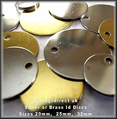 PET ID TAGS cat & dog HORSE Tack 4 for £6.50 name Disc Brass - Job Lot ENGRAVED!