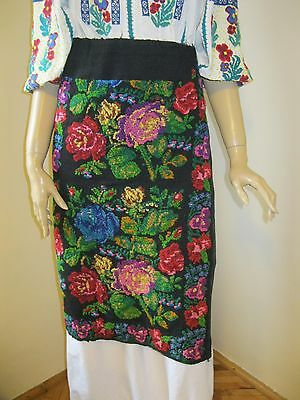 Vintage hand woven Romanian  costume wrap skirt from Muscel  , Arges - WOOL
