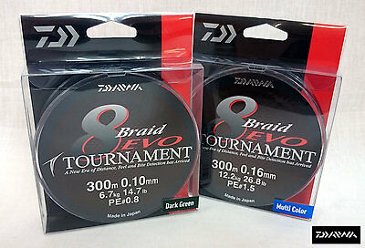 NEW DAIWA TOURNAMENT EVO 8 BRAID 300m SPOOL ALL COLOURS AND BREAKING STRAINS