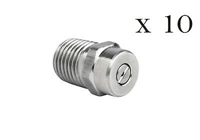 "Pressure Washer  Stainless Steel Spray Nozzle 1/4"" Ten Pack 40° Sizes 2-10"