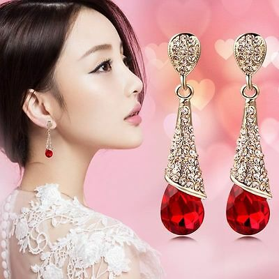 Fashion Lady Gold Water Drop Rhinestone Crystal Dangle Stud Earrings Jewellery