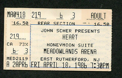 1986 Heart concert ticket stub Meadowlands East Rutherford Bad Animals