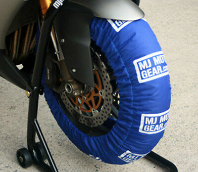 Motorcycle Tire Warmers Set, Blue, Fits 120 Front, 180 190 200 Rear