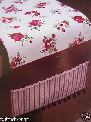 Lined Vintage Style Burgundy/dark Red Floral Striped Table Runner Cotton Pom-Pom