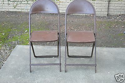 Vintage Mid Century Small Brown Metal MOD Folding Chairs Lot of 2 RARE