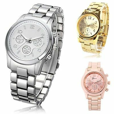 Fashion Geneva Crystal Women Girl Unisex Stainless Steel Quartz Wrist Watch Gift