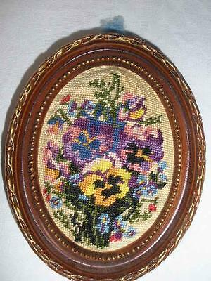 Retro Vintage Small Needlwork Tapestry Wall Hanging Oval