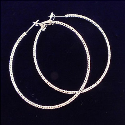 """Nice New Silver Plated Rope Pattern Design 2"""" Round Circle Fashion Hoop Earrings"""