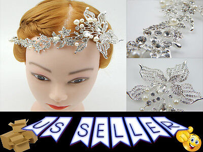 Luxury Jewelry Pearl Crystal Tiara Hairband Clip Wedding Party Hair Accessory
