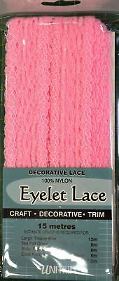 Uni Trim PINK Eyelet Lace 30mm x 15m, Insertion Lace Knitting Lace, 100% Nylon