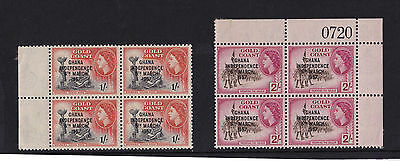 Ghana - 1957-58 Short Set to 2/- - U/M BLOCKS of FOUR - SG 170-79