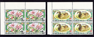 Ghana - 1972 Flora & Fauna - U/M - CORNER BLOCKS of FOUR - SG 636-9