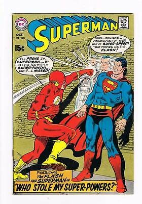 Superman # 220  Who Stole my Super-Powers ? grade 7.5 scarce book !!