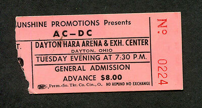 Original 1980 AC/DC concert ticket stub Dayton Ohio Back In Black Tour