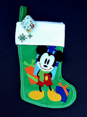 DISNEY Store HOLIDAY 2015 Stocking MICKEY MOUSE Green EMBROIDERED Applique NWT