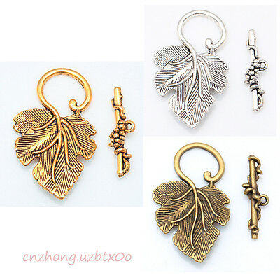 Wholesale 10 Sets Silver/Gold/Brass Grape Leaf Toggle Clasps For Jewelry Making