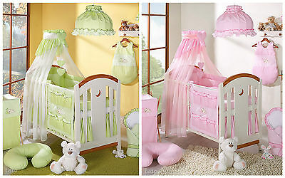 10 Pcs Pieces Embroidered Cot Cotbed Bedding Nursery Set Duvet Bumper Canopy
