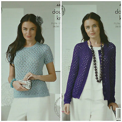 KNITTING PATTERN Ladies Round Neck Lacy Jumper & Cardigan DK King Cole 4401
