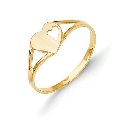 14K Yellow Gold Double Heart Baby Ring Size 2 Madi K Children's Jewelry